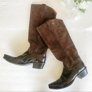 Genuine Suede Leather Frye Western Cowgirl Boots